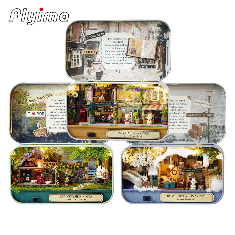 Snow Dream 3D DIY Miniature Wooden Puzzle Dollhouse Mini Furniture Decoration Toys for Kid Birthday Gift Box Theatre