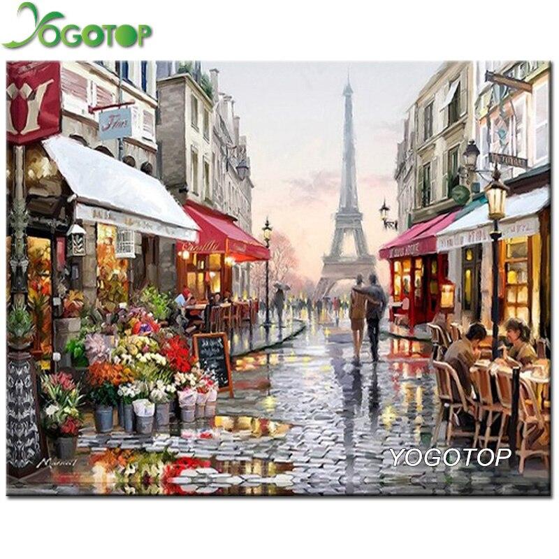 YOGOTOP DIY 5D Diamante Ricamo Diamante Mosaico Parigi strade Piazza Pittura Diamante Kit Punto Croce Decorazione Della Casa ZB375