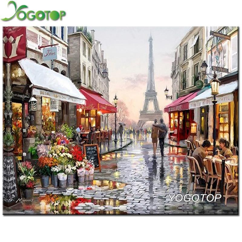YOGOTOP DIY 5D Diamond Embroidery Diamond Mosaic Paris streets Square Diamond Painting Cross Stitch Kits Home Decoration ZB375
