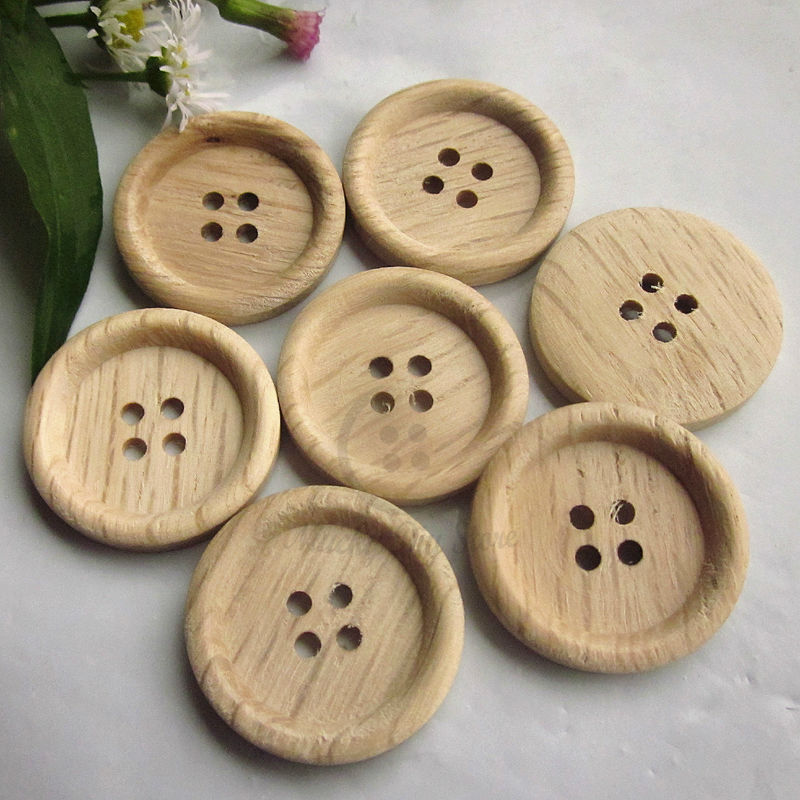 144pcs 25mm 40L 4 holes thin side natural wood pattern sewing wood button  natural wood sewing craft decorative material supplies 3f181a77e210