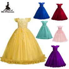 Free Shipping Ankle Length Kids Party Dress 2019 New Arrival Yellow Flower Girl Dresses For Weddings Formal Child Princess Gowns new gold sequins flower girls dresses for weddings backless pageant dress floor length princess kids formal wear