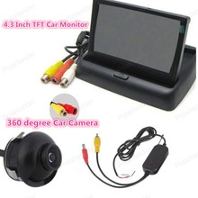 4.3 inch TFT-LCD display screen rearviwe monitor  HD 360 degree 22.5mm CCD reverse parking camera for car parking