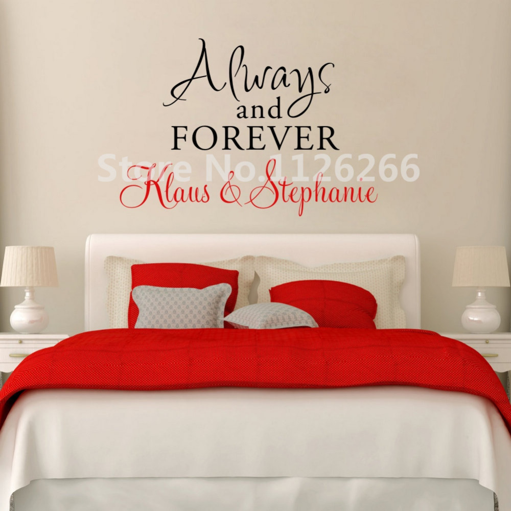 Personalized Couple Name Wall Decal Always and Forever Love Quotes Vinyl Stickers for Living Room Bedroom