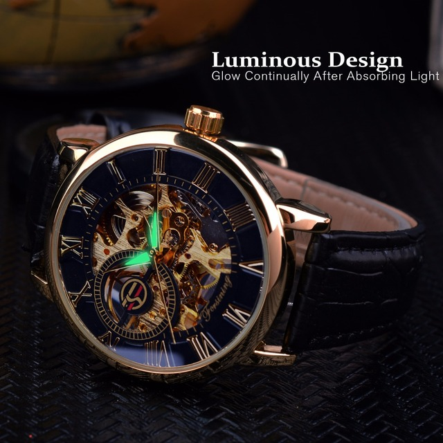 Forsining 3d Logo Design Hollow Engraving Black Gold Case Leather Skeleton Mechanical Watches Men Luxury Brand Heren Horloge 3
