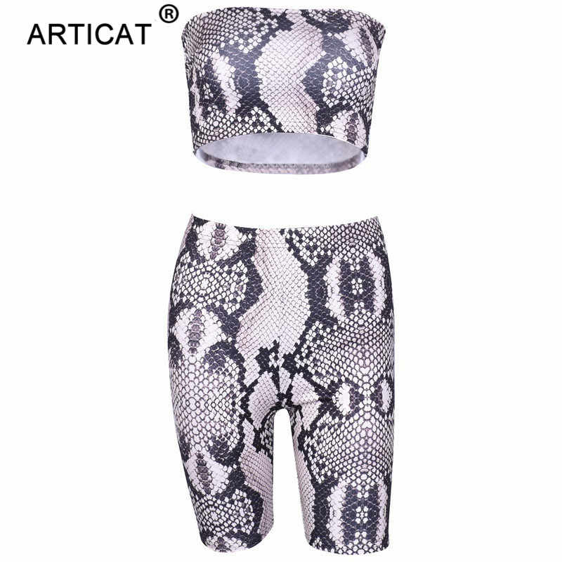 9c19ef9aaa ... Artiact Snake Skin Strapless Crop Top Women Jumpsuit Two Piece Set High  Waist Shorts Playsuit Casual ...