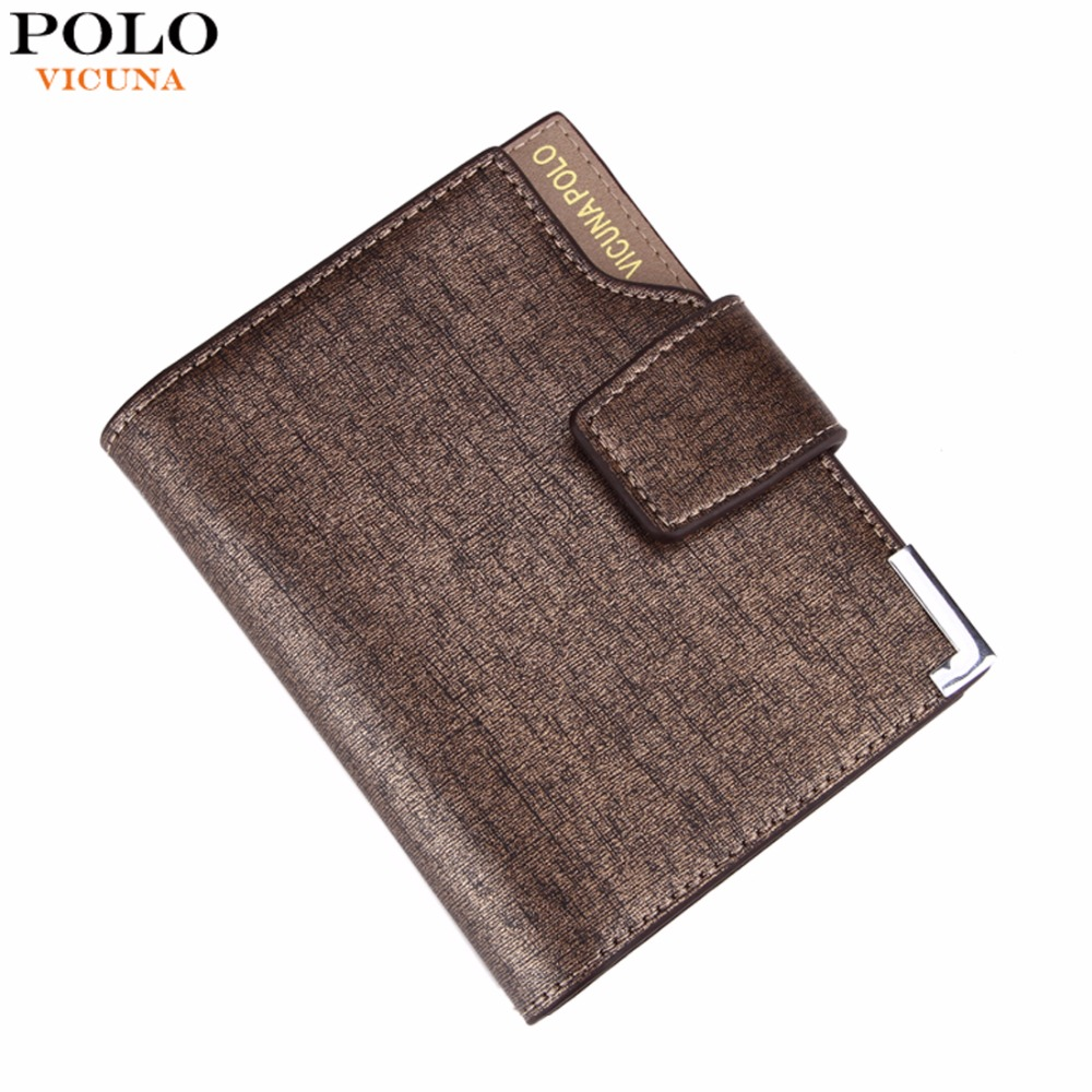 VICUNA POLO Italy Famous Brand Men Wallet High Quality PU Leather Trifold Wallet Large Capacity Short Metal Wallet For Man цена