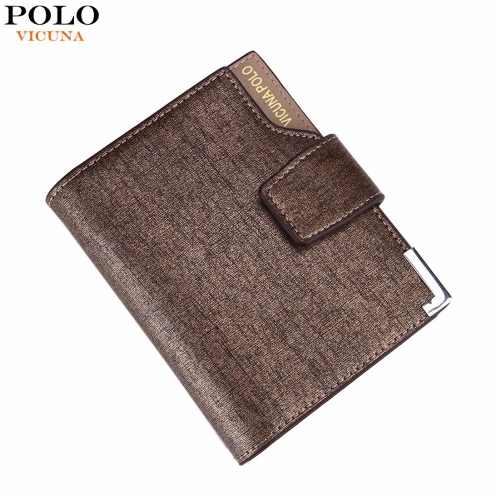 VICUNA POLO Olaszország Híres márka férfiak Pénztárca Kiváló minőségű PU bőr Trifold pénztárca Nagy kapacitású rövid fém pénztárca az ember számára
