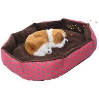 Dot Print Design Soft Fleece Winter Warm Dog Bed House Plush Nest Mat Pad For Pets
