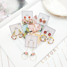 Women Vintage Flower Bird Sweet Princess Drop Bangle Earrings Korea Handmade Fashion Jewelry Holiday-JQD5