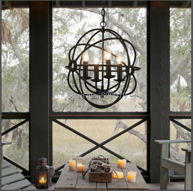 RH Lighting Vintage Pendant Lamp FOUCAULTu0027S IRON ORB CHANDELIER RUSTIC  IRON RH Loft Light(China