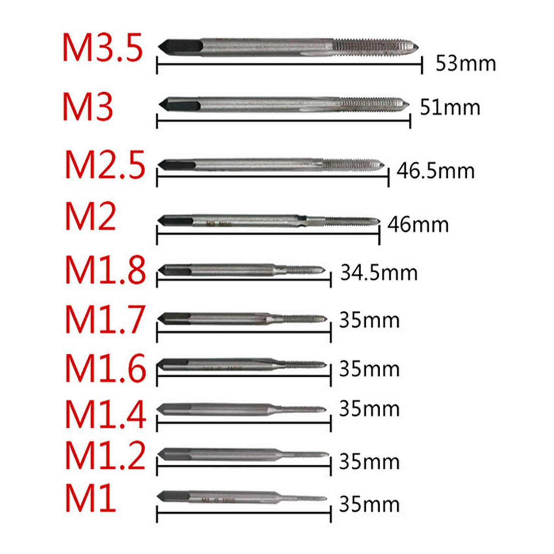 Hot 10pcs/set Hand Tap Thread Wire Tapping/Threading/Taps/Attack M1 M1.2 M1.4 M1.6 M1.7 M1.8 M2 M 2.5 M 3 M3.5 Hand Tools
