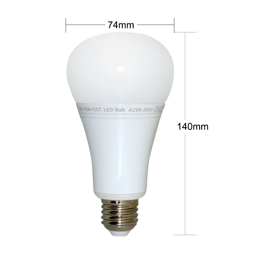 12W Mi Light LED Bulb E27 Dimmable LED Bulb Light RGB + Warm White ...