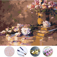 Diy Oil Painting Flowers Frameless Picture On Wall Acrylic Painting By Numbers On The Canvas Modular