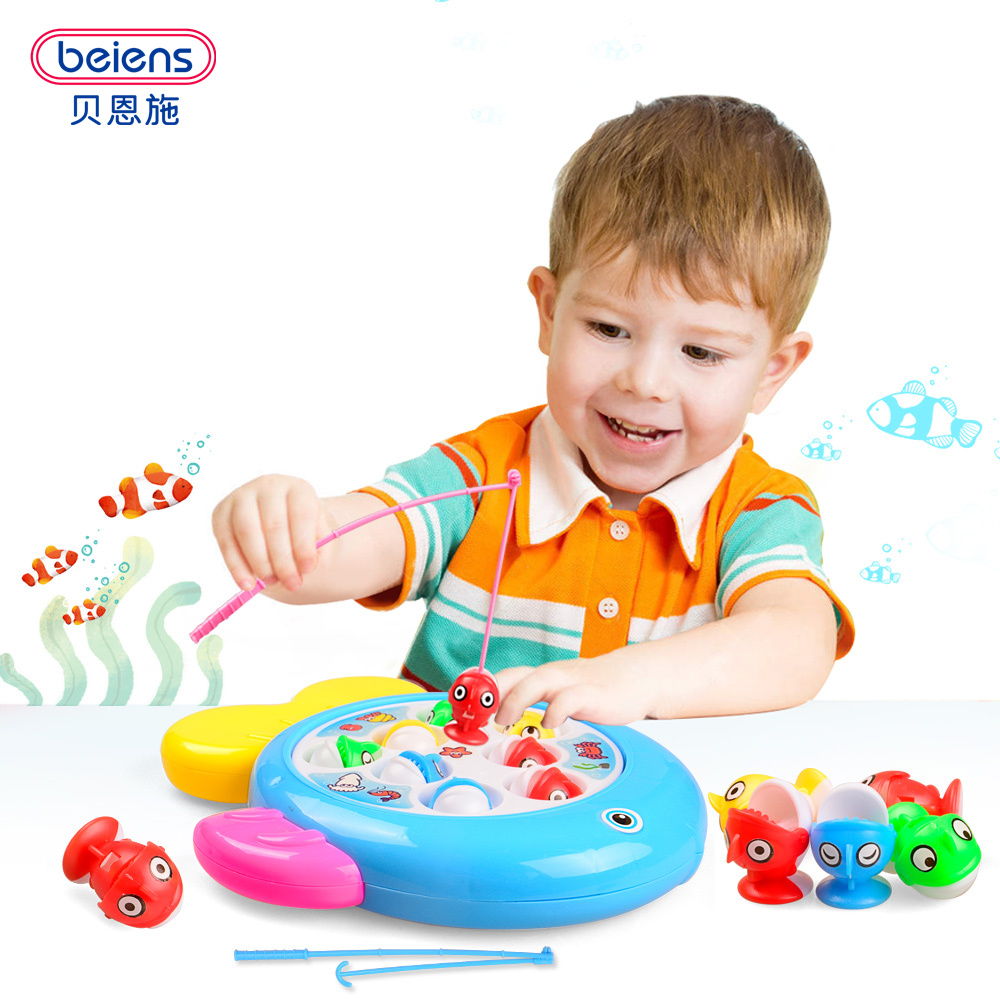 Beiens DIY Fish Toy Games Fishing Plastic Toy Magnetic Kids Toy Fish Pool Gift Parent-child interaction With Music