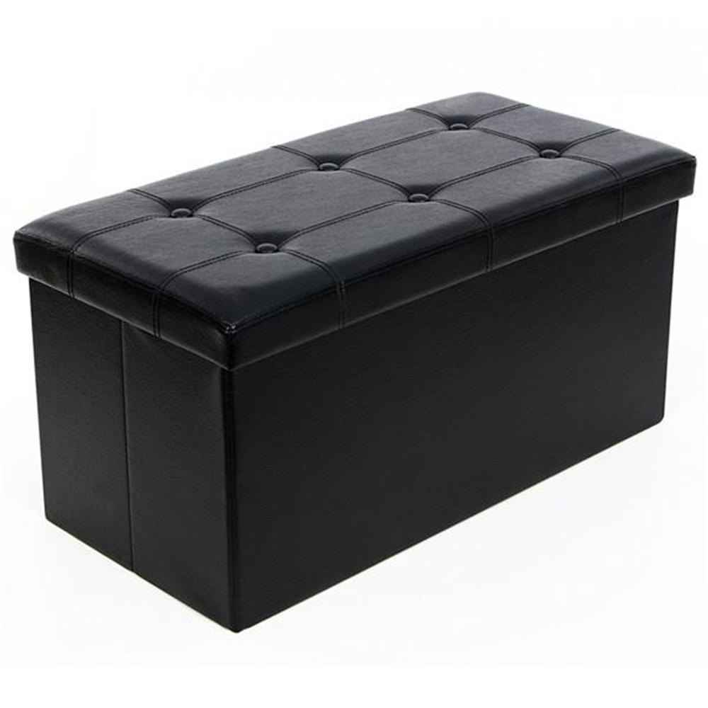 Hot Sales 2 Colors F-02L Practical PVC Leather Rectangle Shape Surface With Line Footstool Brown
