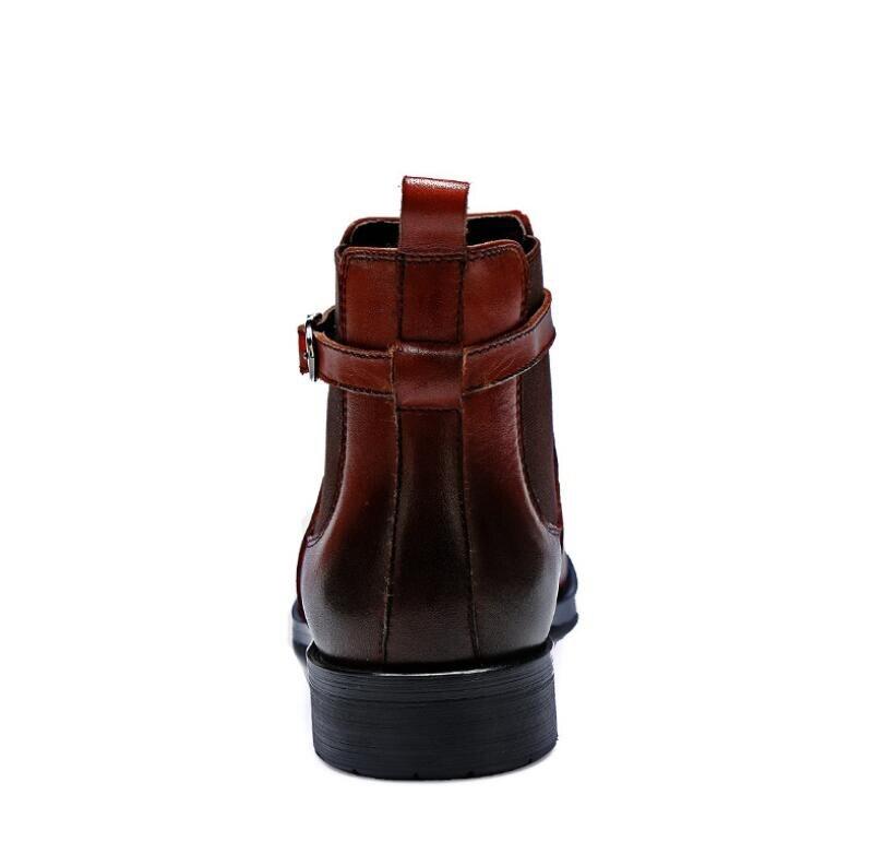 Couro Do Homens Vivodsicco Para Sapatos Genuíno Preto Novas De Bullock Apontado Macio Dedo Padrões marrom Oxford Vestido Pé Botas Respirável xTwfT1