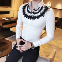 Primavera nueva camisa hombres moda 2018 imprimir slim fit casual mens Camisas de traje manga larga blusa Homme Venta caliente blanco camisa
