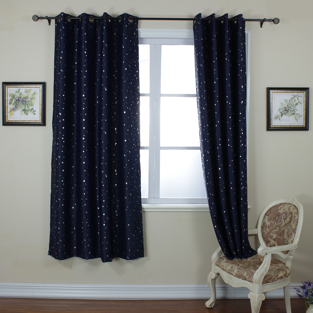Navy curtains blackout - Aliexpress Com Buy One Panel Per Pack Fashion Drapes Navy Blue Star Print Cortinas Thermal Insulated Blackout Curtain French Window Grommet Curtian From