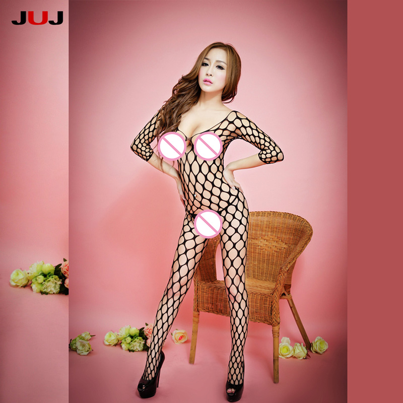 Buy 2017 Sexy Women Fishnet Bodystocking High Quality Lingerie Open Crotch Stockings Sheer crotchless tights Nightwear mesh Stocking