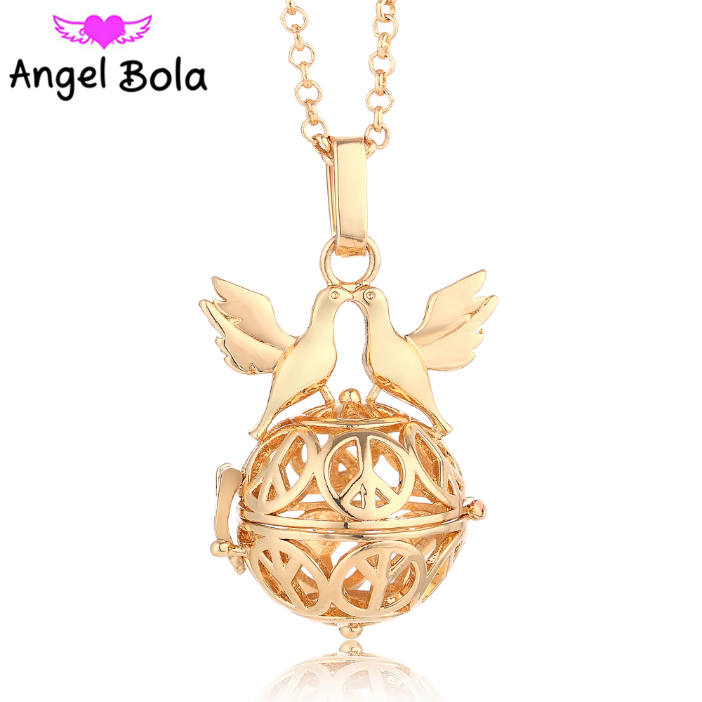 10pcs/Wholesale 20.5mm Engelsrufer Peace Dove Cage Sound Pendant Angel Bola Necklaces Harmony Chime Jewelry L001