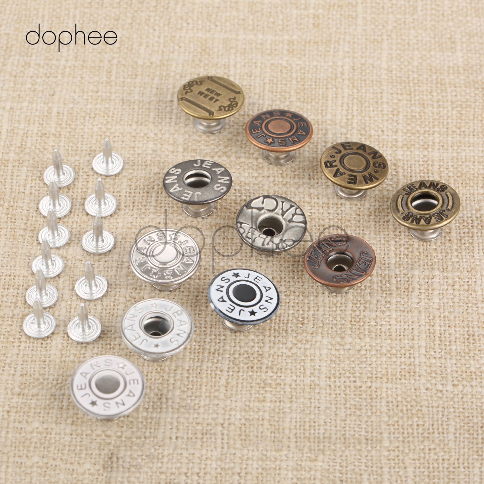 50 Nails For Jeans Fasterners 50Pcs 17mm 20mm Silver Jeans Buttons DIY Shank