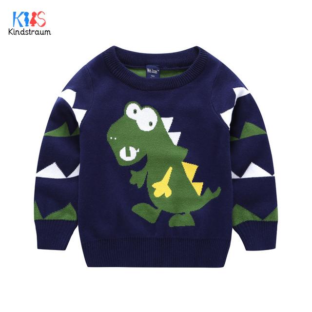 Kindstraum 2017 nuevo invierno niños dinosaurio suéter pollover alta algodón de boys & girls ropa o-cuello ocasional para niños, rc1008