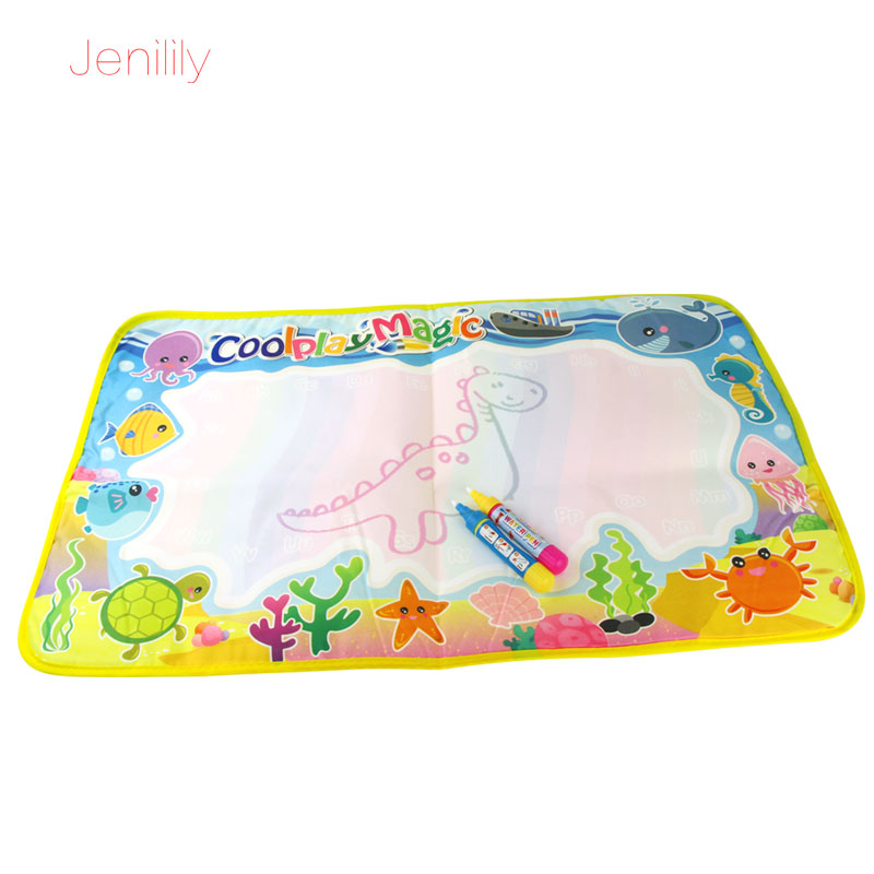 Jenilily 59x36cm multicolor rainbow water drawing mat with 2 pen Water mat rug for painting Xmas gift for kids JN2323-2