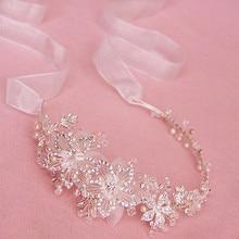 Dower me Handmade Silver Crystal Pear Tiara Headpiece Wedding Hair Accessories Bridal Jewelry Floral Headband With Ribbon