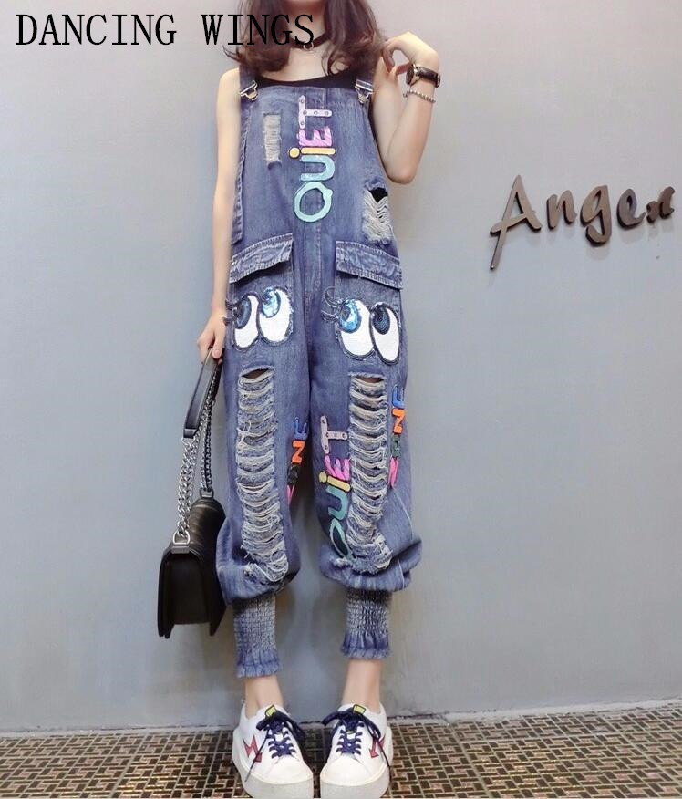 Female Denim Jumpsuits Fashion Sequins Cartoon Letters Hole Bib Pants Casual Loose Harem Pants Women Denim Overalls(China)