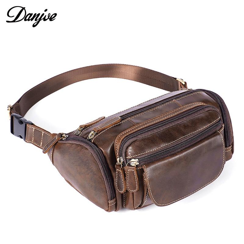 Fashion Genuine Leather Men's Belt Bag Fanny Pack Multiple Pocket Waist Bags Casual Travel Real Leather Waist Packs for Men