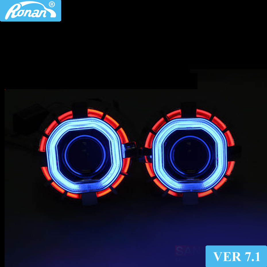 RONAN 2.5''HID MINI H1 Bixenon Projector Lens VER7.1 8.1 car Headlight Double CCFL square Angel Eyes H4 H7 Car retrofit Styling цены