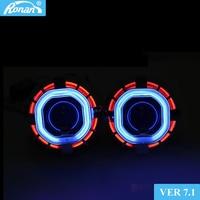 RONAN 2.5''HID MINI H1 Bixenon Projector Lens VER7.1 8.1 car Headlight Double CCFL square Angel Eyes H4 H7 Car retrofit Styling