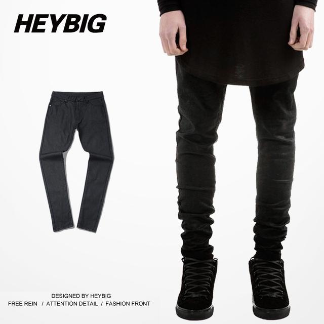 Sólido Negro Hip Hop Pantalones Cremallera Modelos de Pasarela High Street Retro Pantalones Hombres Basculador Pantalón Slim Fit Marca Ropa M-XL