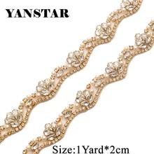 YANSTAR аппликация из горного хрусталя ручной работы по 2 см * 50 ярдов отделкой Вышивание на свадебные платье с ремнем YS810