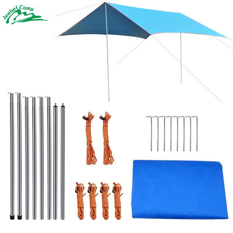 все цены на Jeebel 3m*2.9m Sun Shelter With Rod Picnic Tarp Tent from the sun Shade Ultralight Awning Canopy Outdoor Shade beach tent онлайн