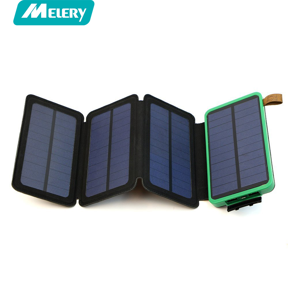Solar <font><b>Power</b></font> Bank Charger three Foldable Solar Panel <font><b>Power</b></font> Bank 10000mAh Portable Rugged Shockproof Dual USB Battery outdoor LED