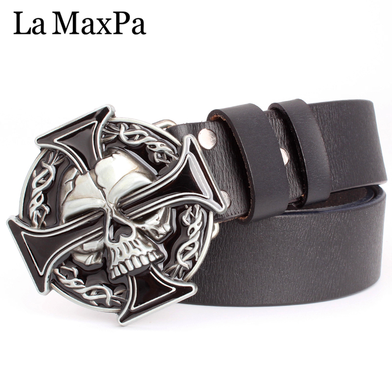 Man skull   belt   Punk style men   belt   buckle skull head silver skull Cross skeleton pattern men's genuine leather   belt   gift for man