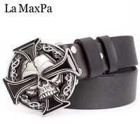 Man skull belt Punk style men belt buckle skull head silver skull Cross skeleton pattern men's genuine leather belt gift for man