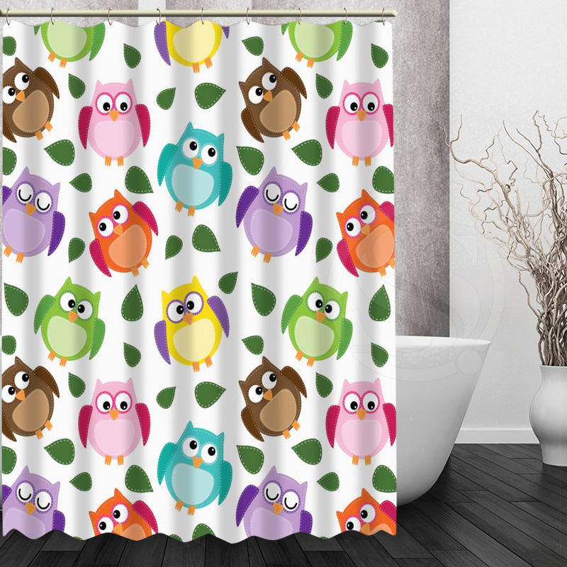 cute cartoon series style pop owl pattern shower curtain pattern customized shower curtain fabric for bathroom decor