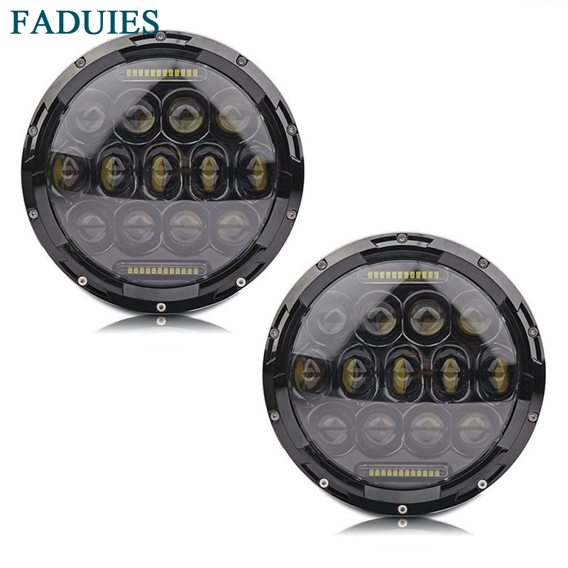 FADUIES Black 2pcs se super bright 12v 105w H4 7 inch led headlight with white DRL
