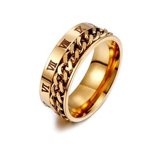 Men's 8MM Rock Ring Stainless Steel Rotating Chain Ring Roman Digital Band Silver Gold Black Men's Jewelry Anel Aneis