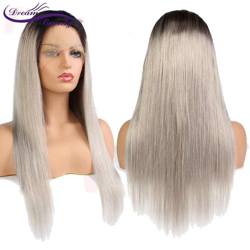 Dream Beauty 1b Grey Color Lace Front Human Hair Wig Pre Plucked Hairline Remy Brazilian Hair