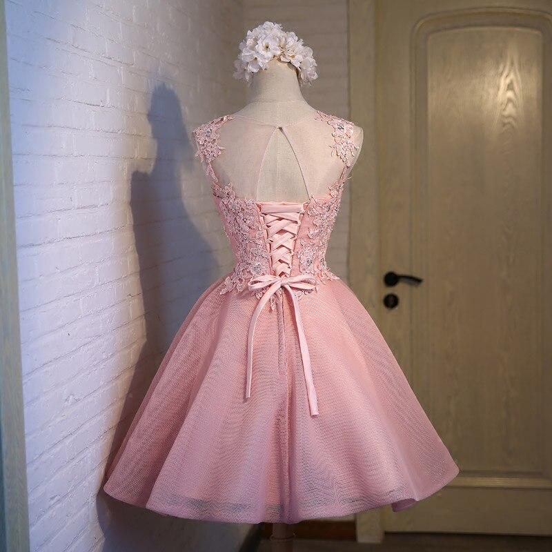 Lamya Apliques Cristales Cortos Vestidos de Baile Rosa Precioso Tul ...