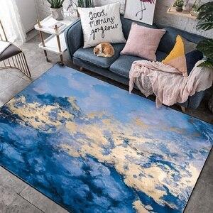 Image 3 - נורדי תוספות מופשט כחול חוף שטיח ליד מיטת חדר שינה סלון כניסה מעלית רצפת מחצלת ספת שולחן קפה אנטי להחליק שטיח