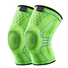 2 Pcs Kuangmi Compression Knee Sleeves Support Sports Safety Silicone Pads Basketball Spring Brace Socks Protector Running