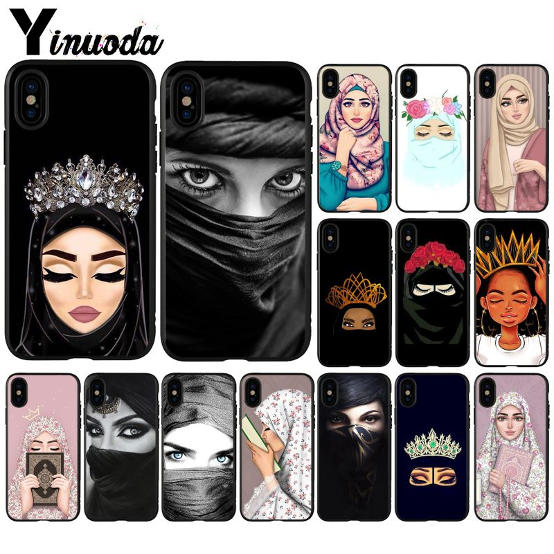 Yinuoda Hijab Beautiful  Women Pattern TPU Phone Accessories Cell Phone Case for iPhone X XS MAX  6 6s 7plus 8 8Plus 5 5S SE XR Сотовый телефон