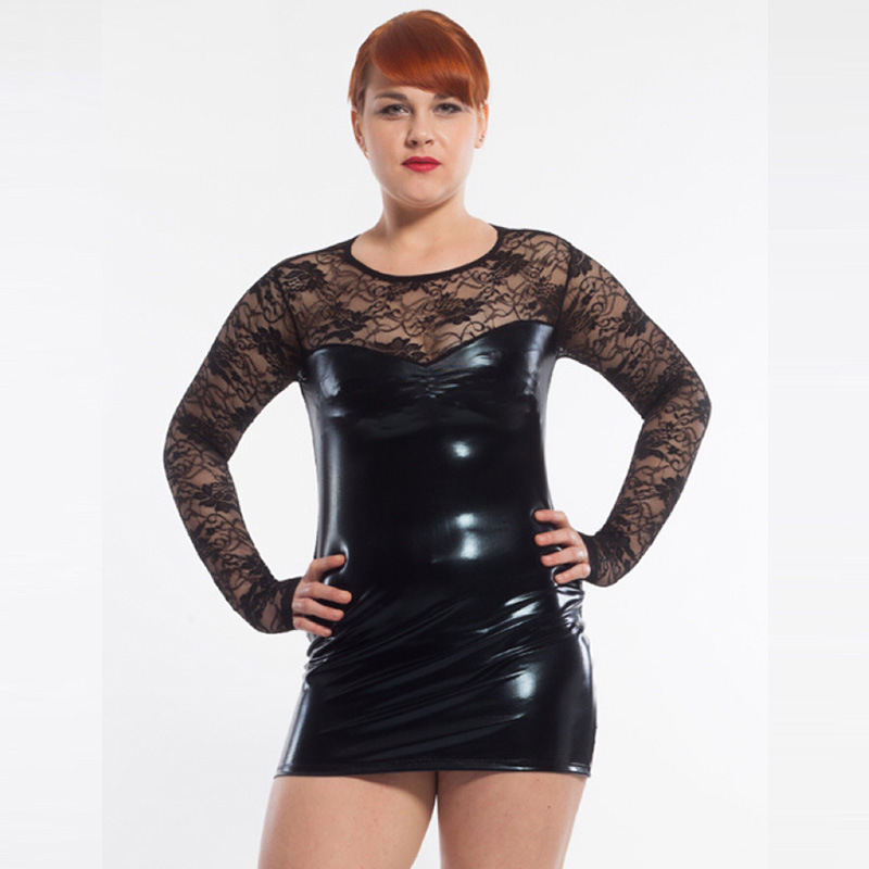 Plus M-6XL Women Sexy Black Faux Leather Latex Lace Embroidery Mini Dress Erotic Perspective Dance Catsuit Fetish Club Leotard plus size women in leather