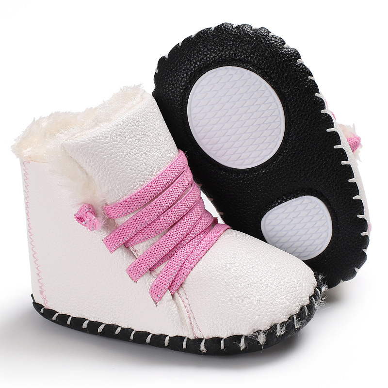 Raise Young PU Leather Winter Plus Velvet Warm Baby Boots Soft Soles Non-slip Newborn Ba ...