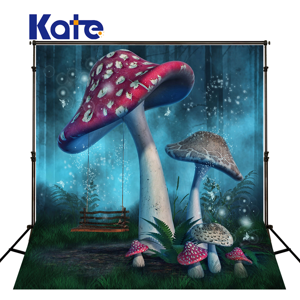 10x10ft Kate Fairy Tale Forests Background Mushrooms Forest Backdrop Baby Birthday Newborn Baby Photo for Photography Studio send rolled enchanted forest backdrop secret garden lantern fairy tale printed fabric photography background s0038