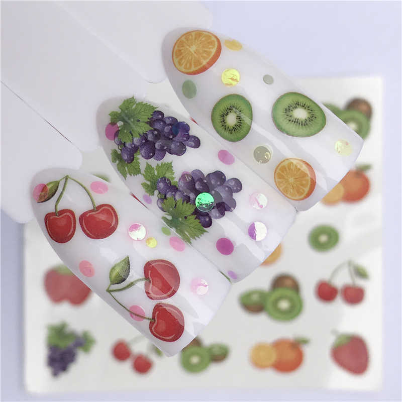 YWK Brand New 1 PC Green Grass/Flower/Fruit Water Transfer Sticker Nail Art Decals DIY Fashion Wraps Tips Manicure Tools